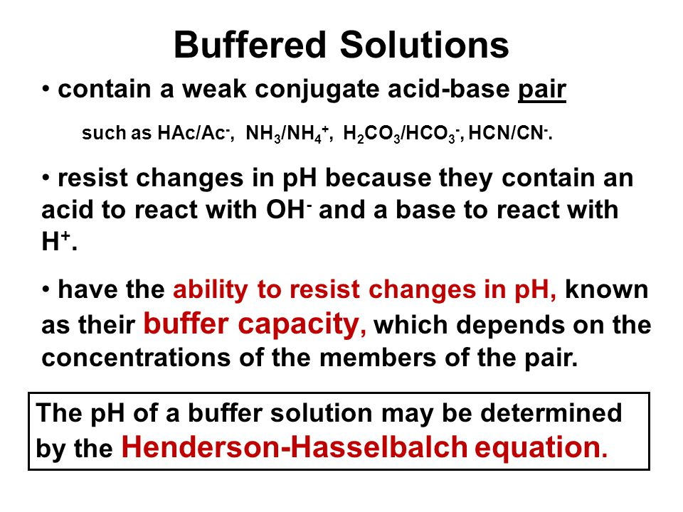 Buffered Solutions contain a weak conjugate acid-base pair