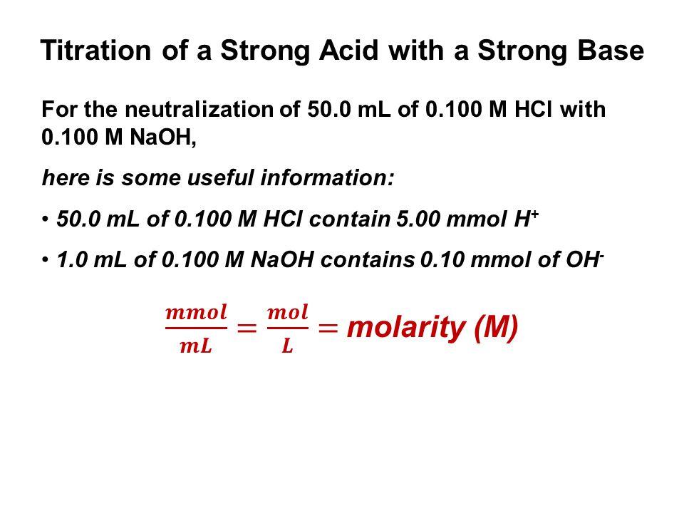 𝒎𝒎𝒐𝒍 𝒎𝑳 = 𝒎𝒐𝒍 𝑳 = molarity (M)