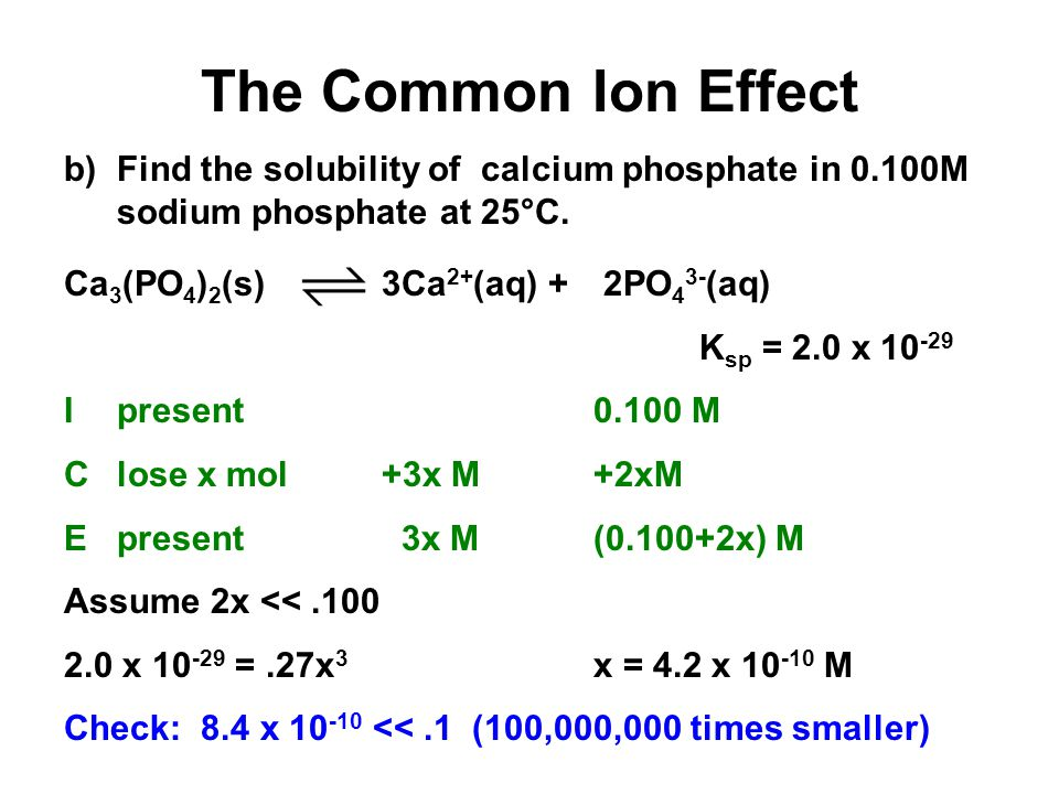 Unit 4-5: Acids and Bases 3 The Common Ion Effect. b) Find the solubility of calcium phosphate in 0.100M sodium phosphate at 25°C.