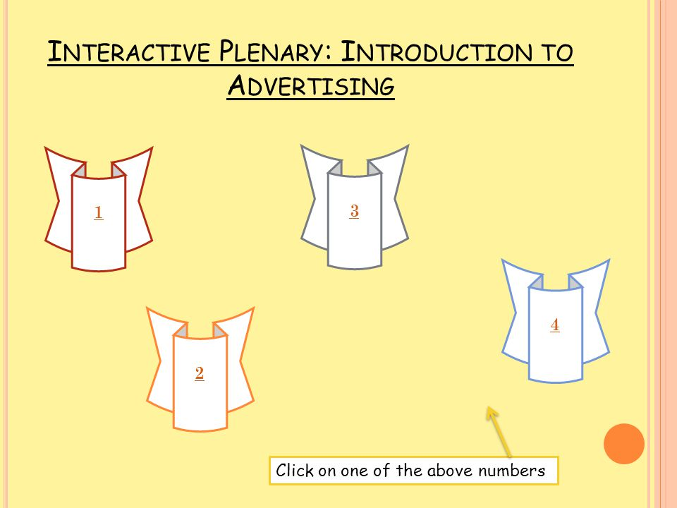 Interactive Plenary: Introduction to Advertising