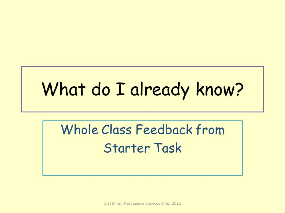 Whole Class Feedback from Starter Task