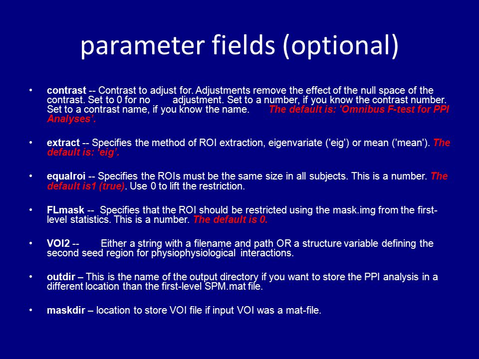 parameter fields (optional)