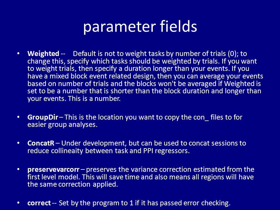 parameter fields