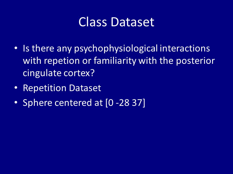 Class Dataset Is there any psychophysiological interactions with repetion or familiarity with the posterior cingulate cortex