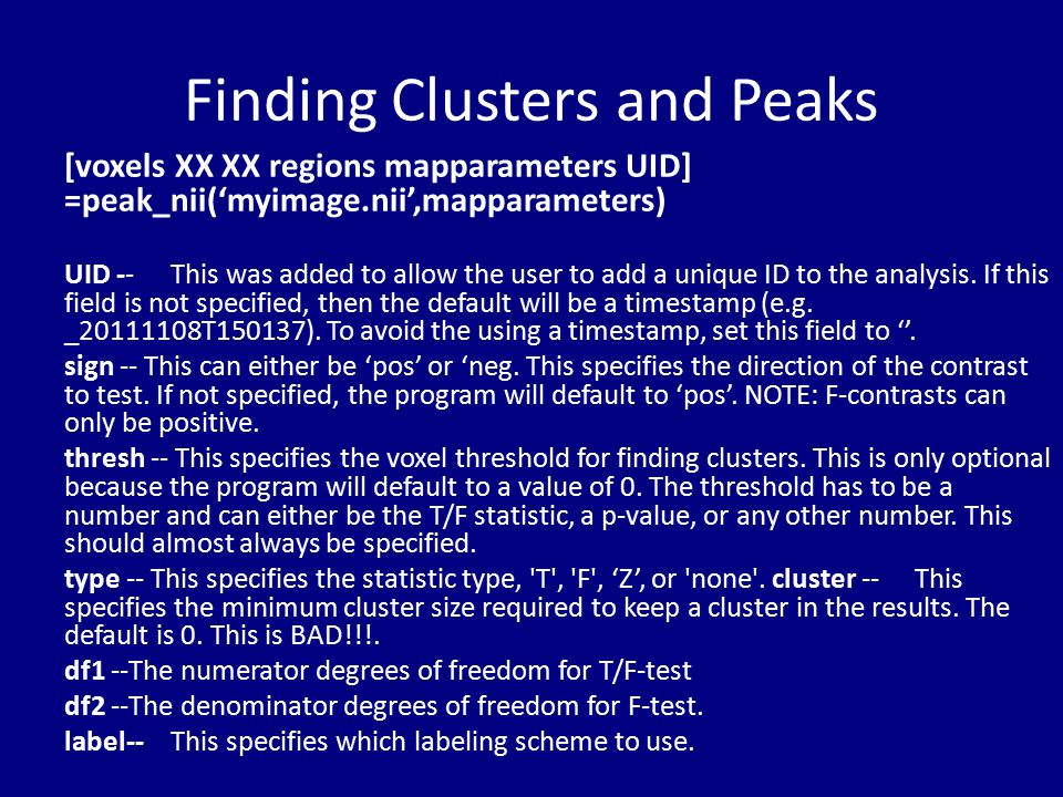 Finding Clusters and Peaks