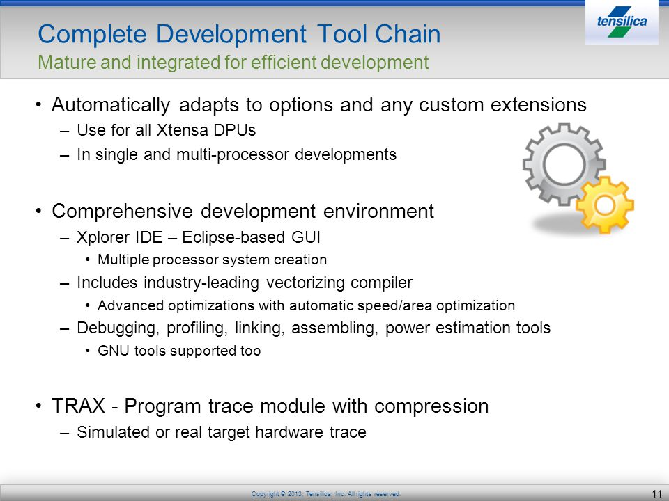 Complete Development Tool Chain Mature and integrated for efficient development