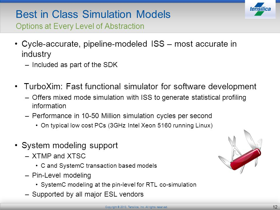 Best in Class Simulation Models Options at Every Level of Abstraction