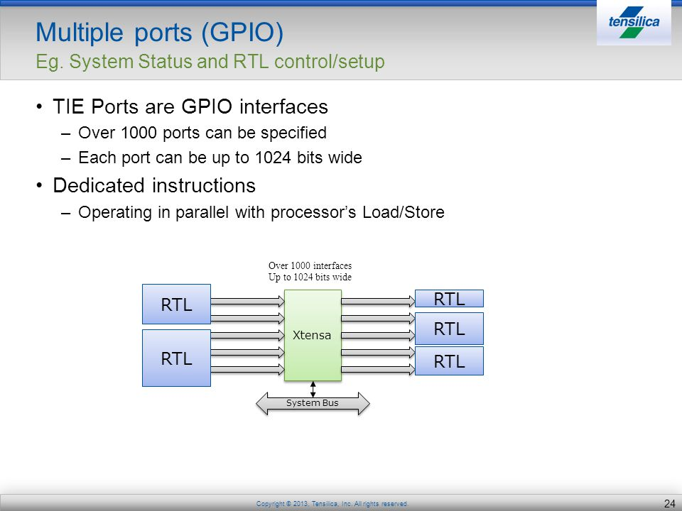 Multiple ports (GPIO) Eg. System Status and RTL control/setup