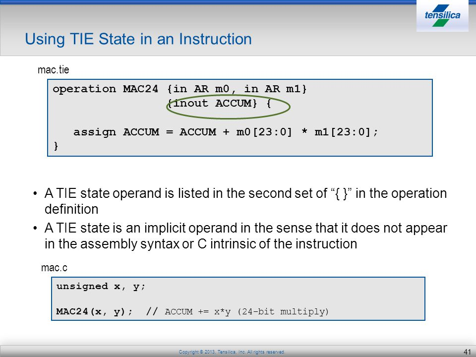 Using TIE State in an Instruction