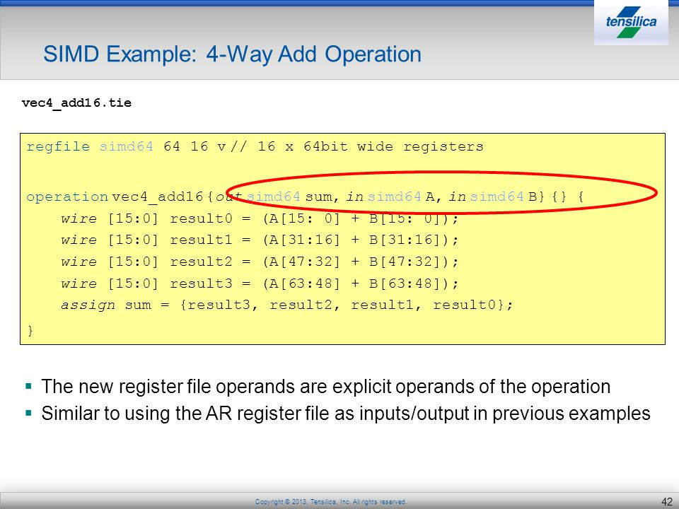 SIMD Example: 4-Way Add Operation