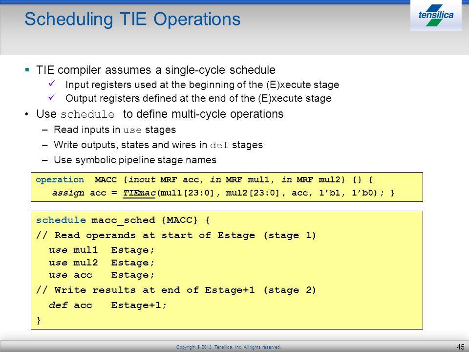 Scheduling TIE Operations