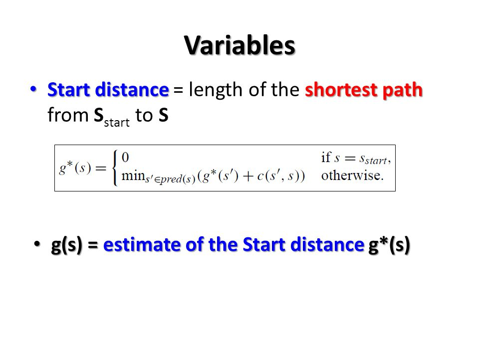 Variables Start distance = length of the shortest path from Sstart to S.