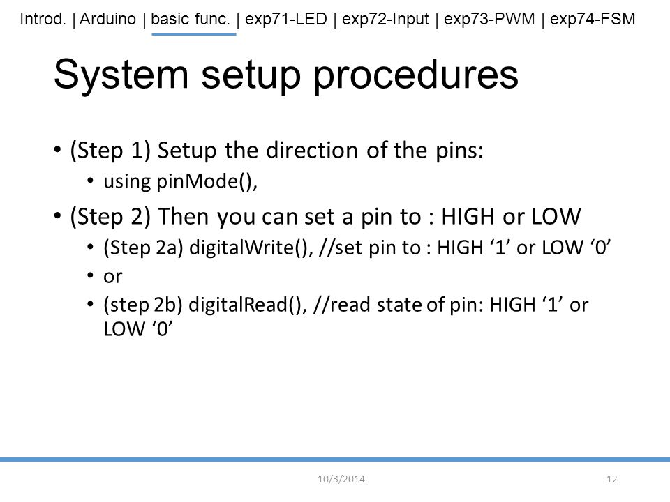 System setup procedures