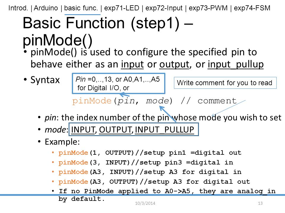 Basic Function (step1) – pinMode()