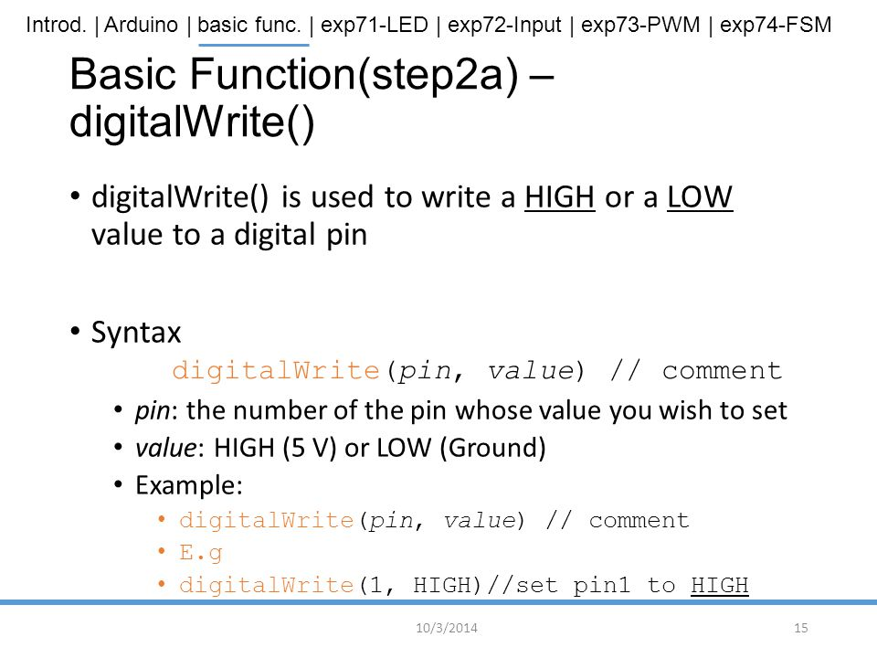 Basic Function(step2a) – digitalWrite()
