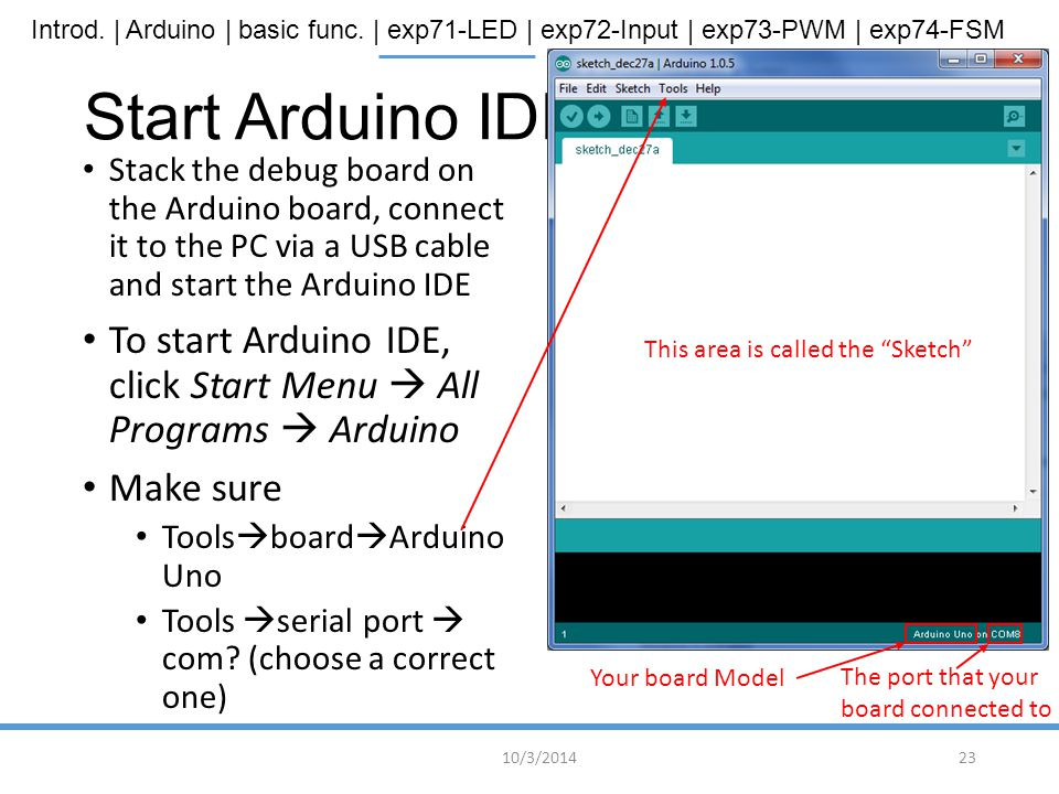 Start Arduino IDE Stack the debug board on the Arduino board, connect it to the PC via a USB cable and start the Arduino IDE.