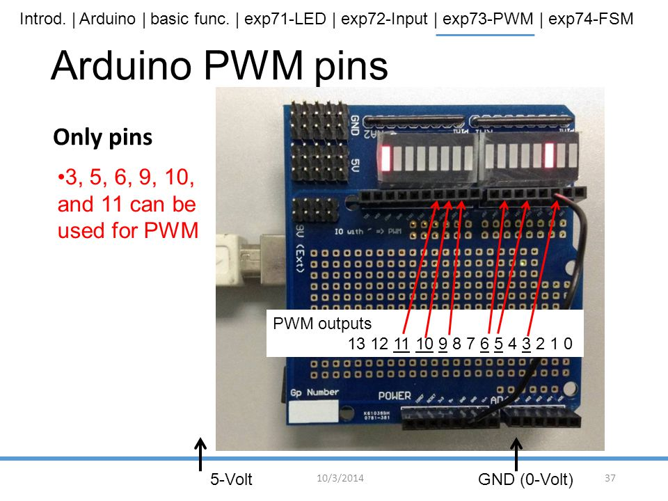 Arduino PWM pins Only pins 3, 5, 6, 9, 10, and 11 can be used for PWM