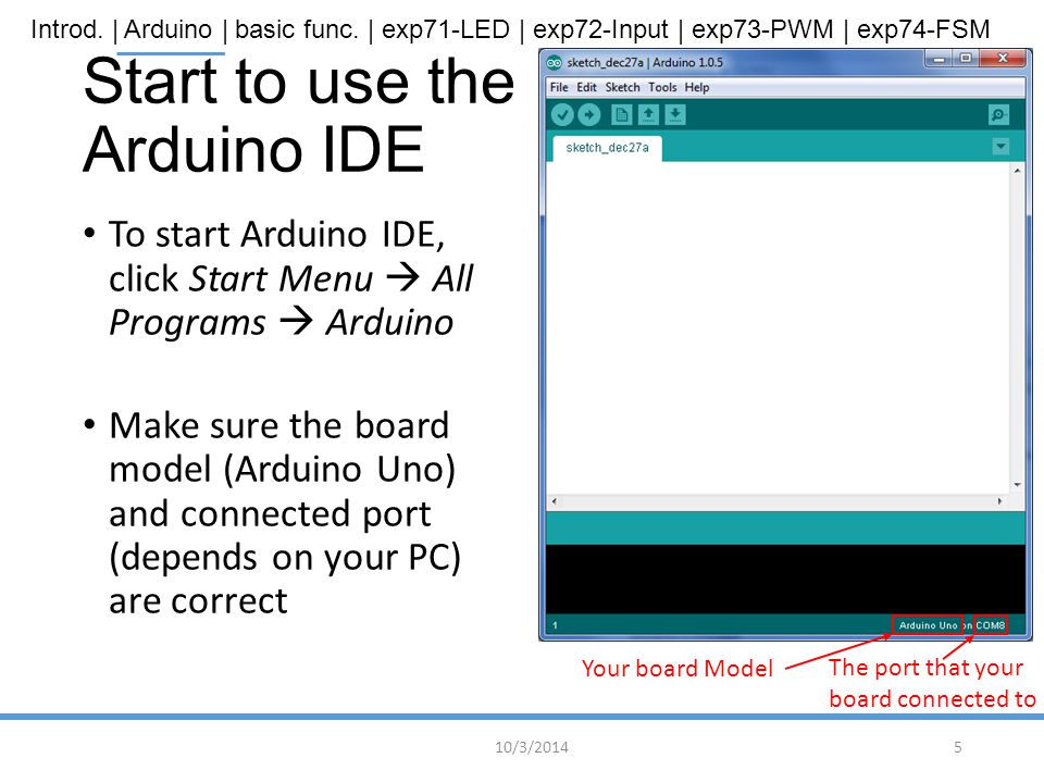 Start to use the Arduino IDE