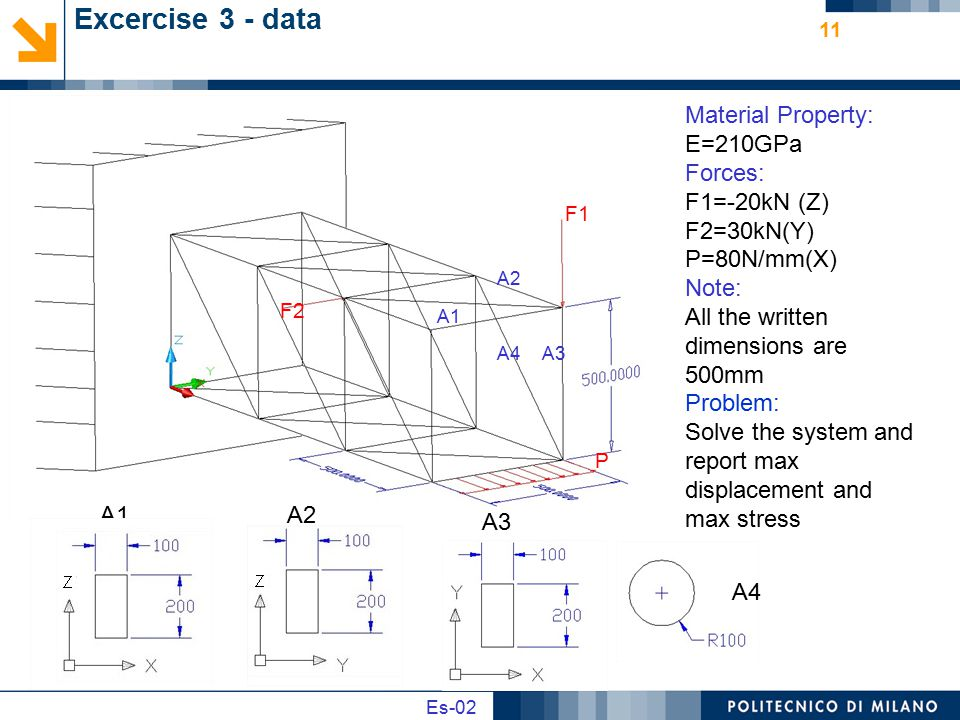 Excercise 3 - data Material Property: E=210GPa Forces: F1=-20kN (Z)