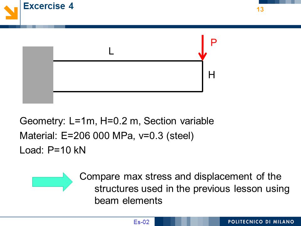 Geometry: L=1m, H=0.2 m, Section variable