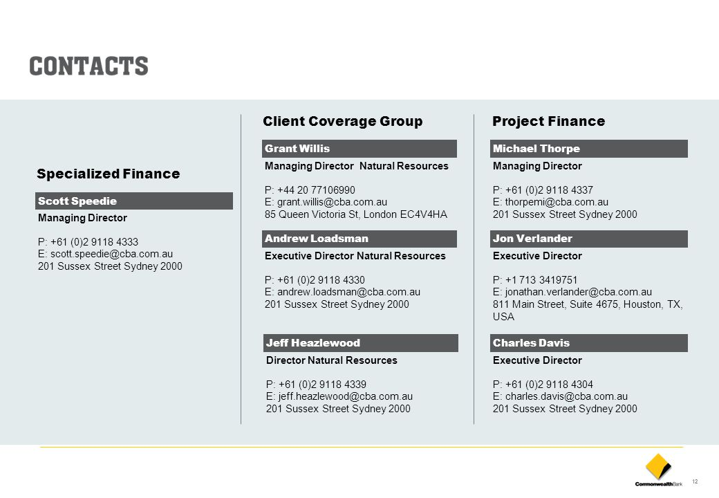 Client Coverage Group Project Finance Specialized Finance Grant Willis