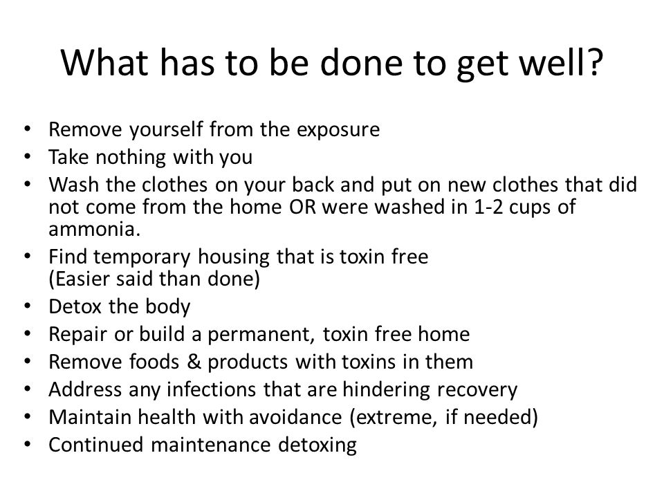 What has to be done to get well