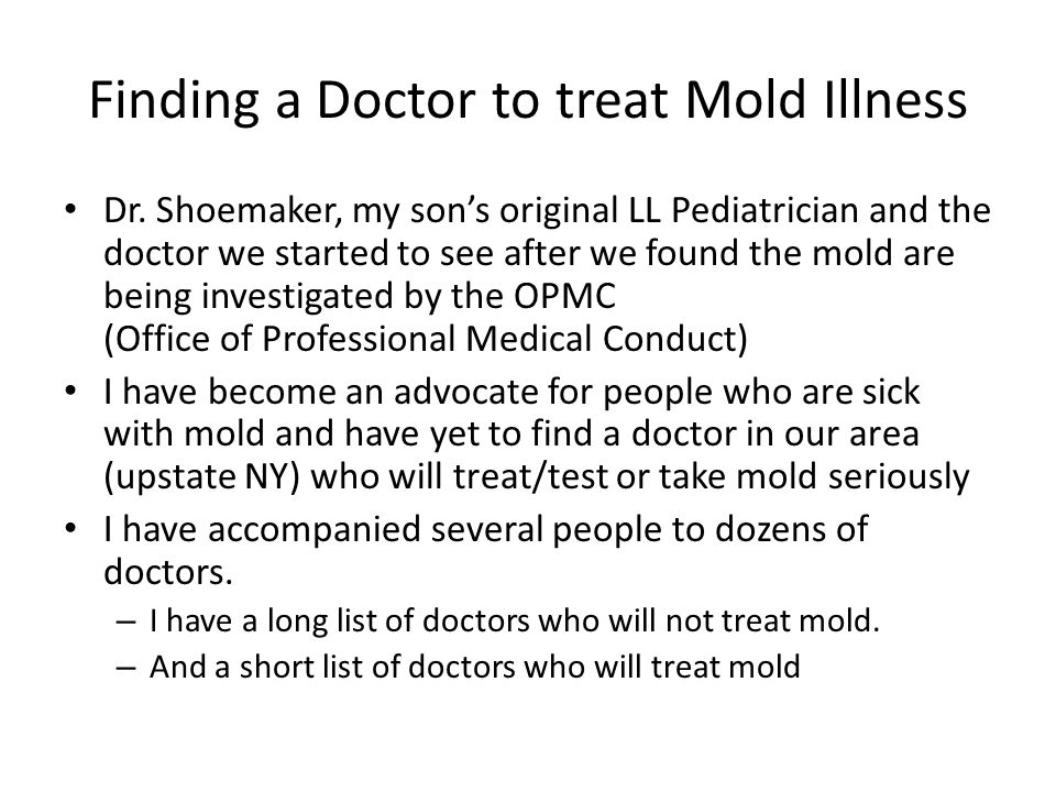 Finding a Doctor to treat Mold Illness