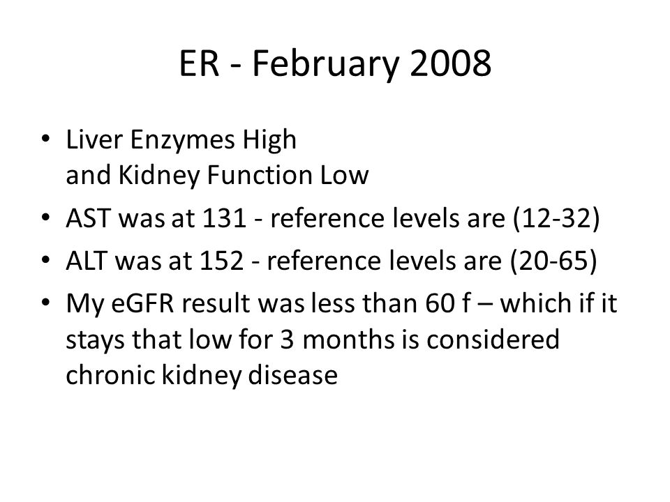 ER - February 2008 Liver Enzymes High and Kidney Function Low