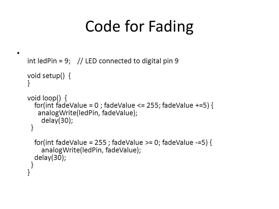 Code for Fading