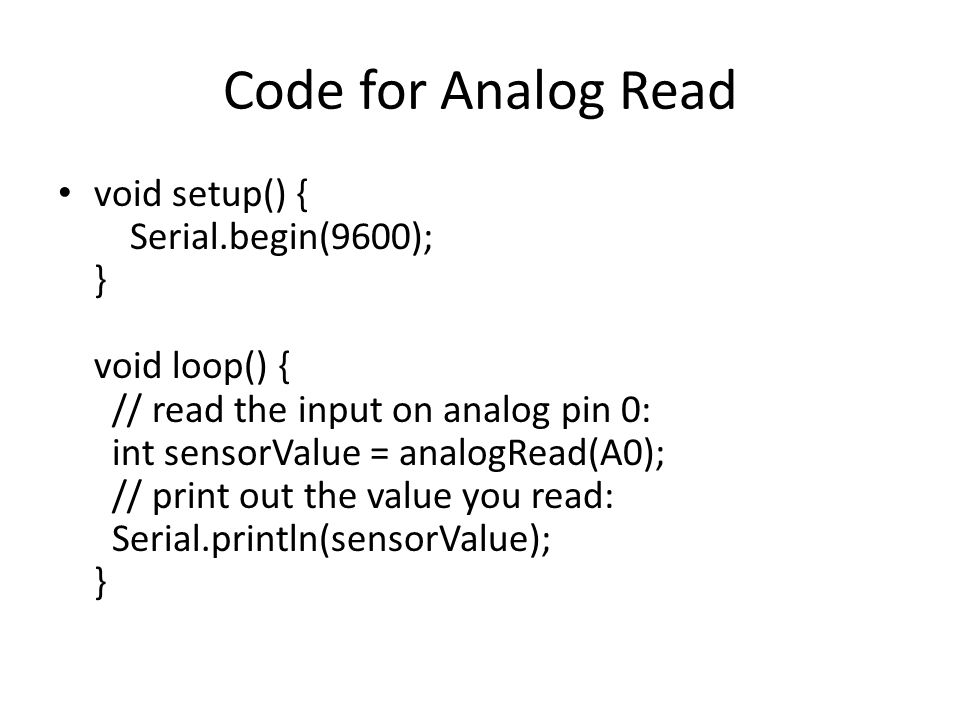 Code for Analog Read