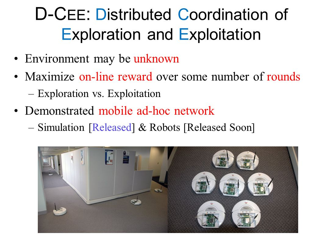 D-Cee: Distributed Coordination of Exploration and Exploitation