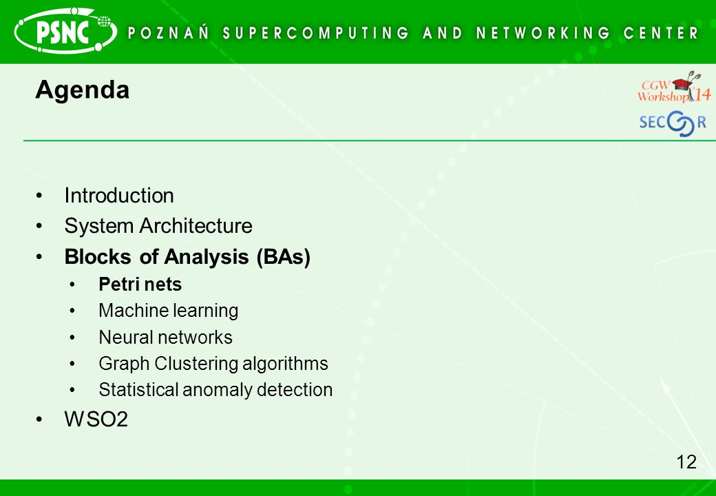 Agenda Introduction System Architecture Blocks of Analysis (BAs) WSO2