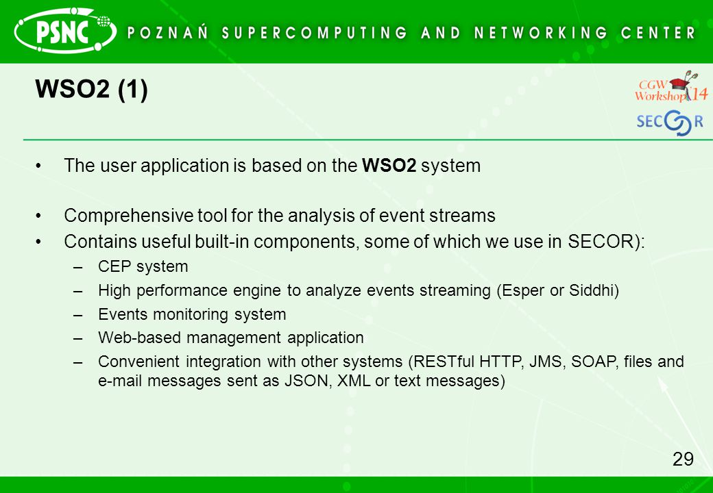WSO2 (1) The user application is based on the WSO2 system
