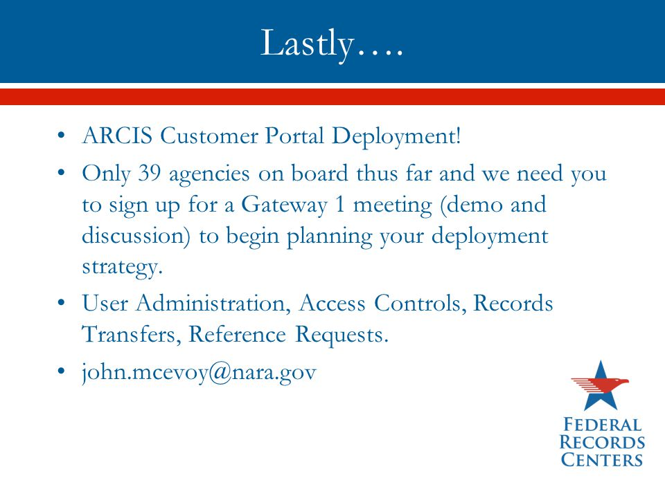 Lastly…. ARCIS Customer Portal Deployment!