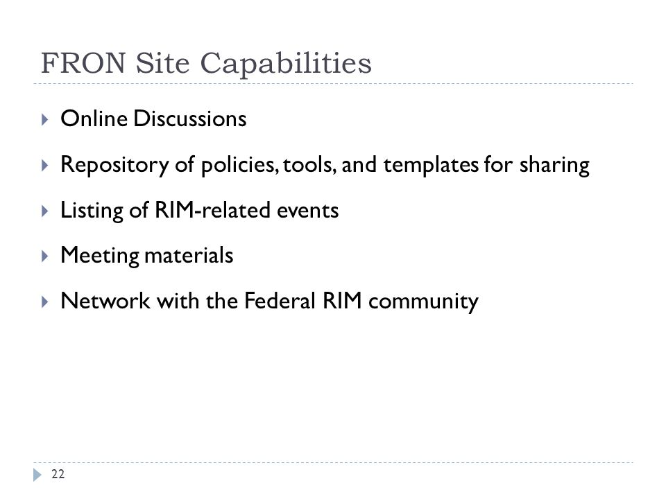 FRON Site Capabilities