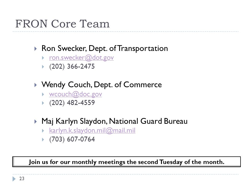 Join us for our monthly meetings the second Tuesday of the month.