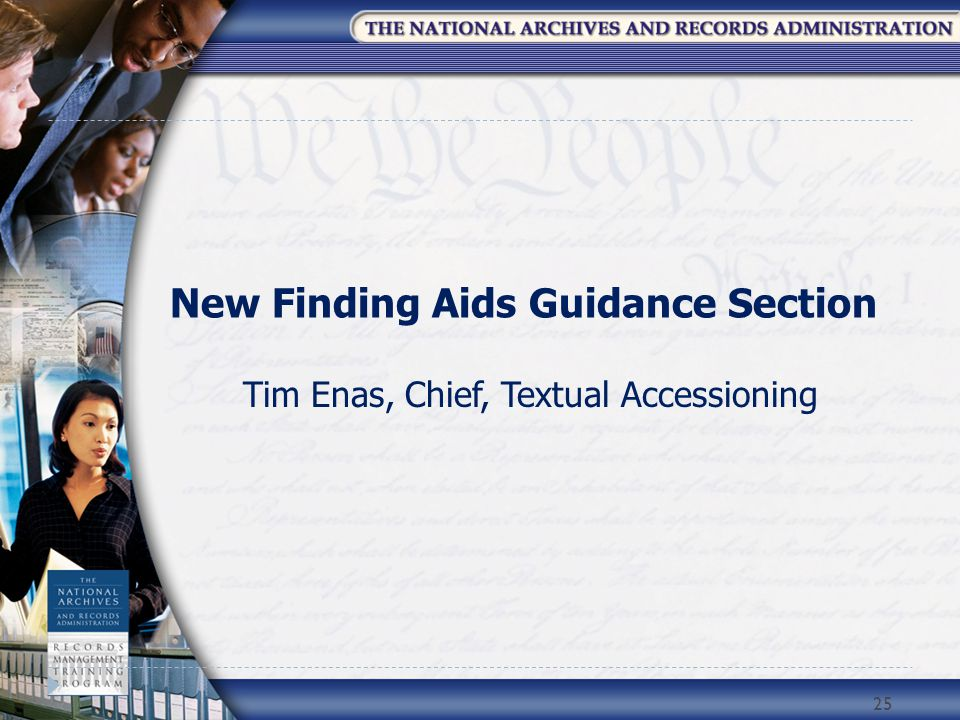 New Finding Aids Guidance Section