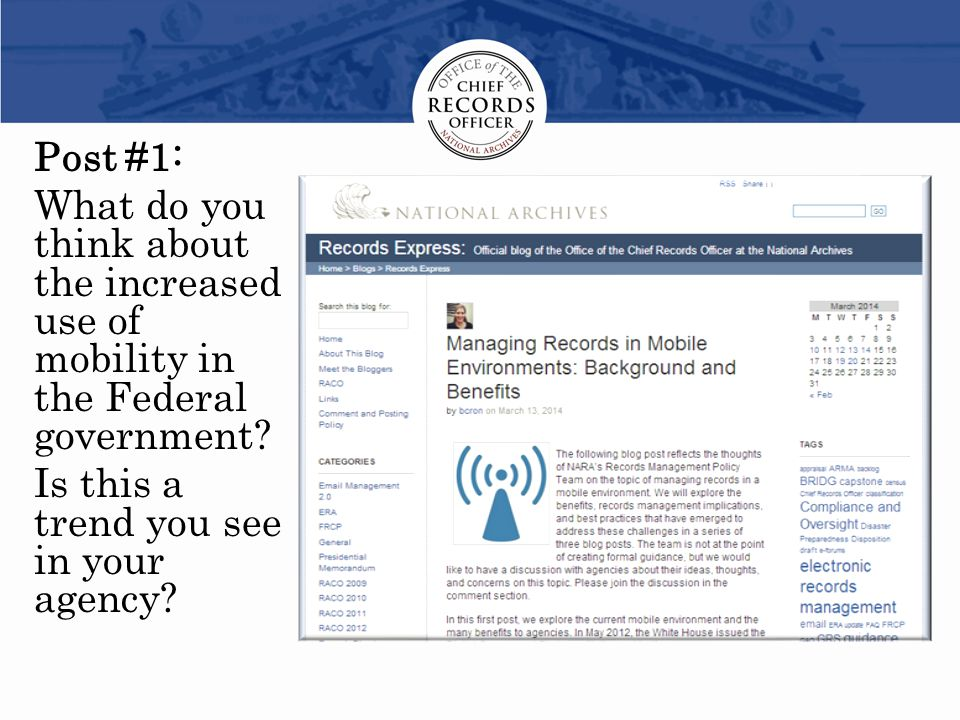 Post #1: What do you think about the increased use of mobility in the Federal government.