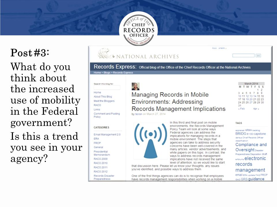Post #3: What do you think about the increased use of mobility in the Federal government.
