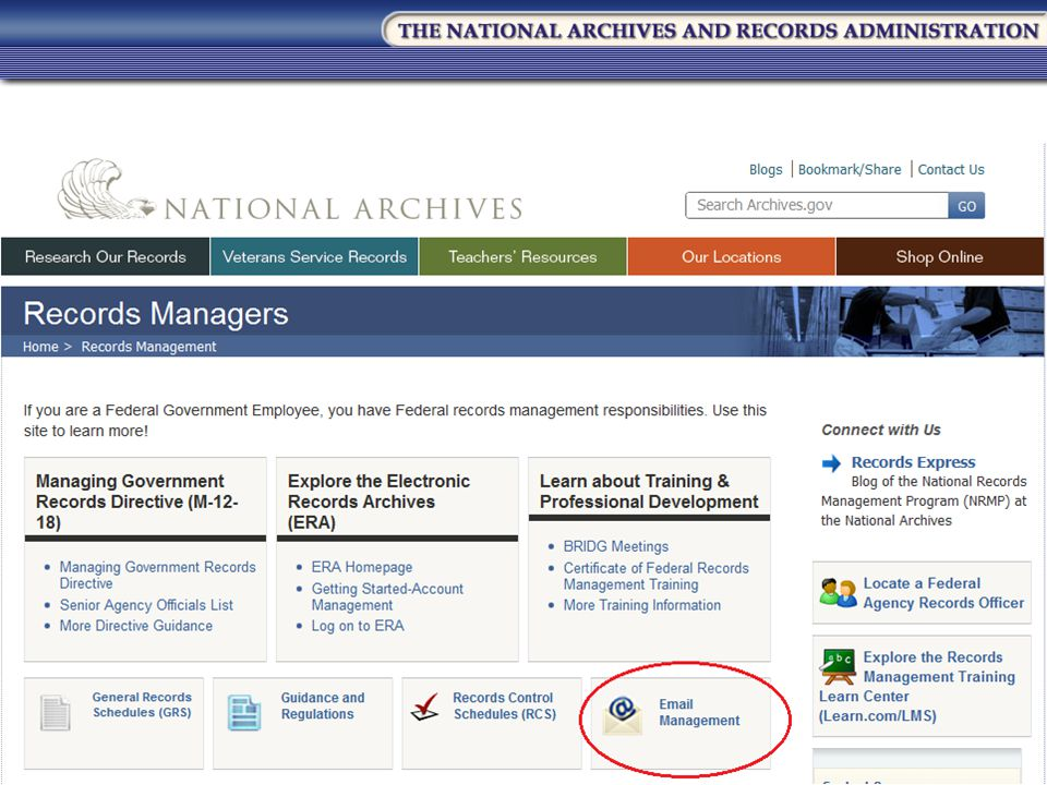 Which brings you to a wealth of information on records management in the Federal government.