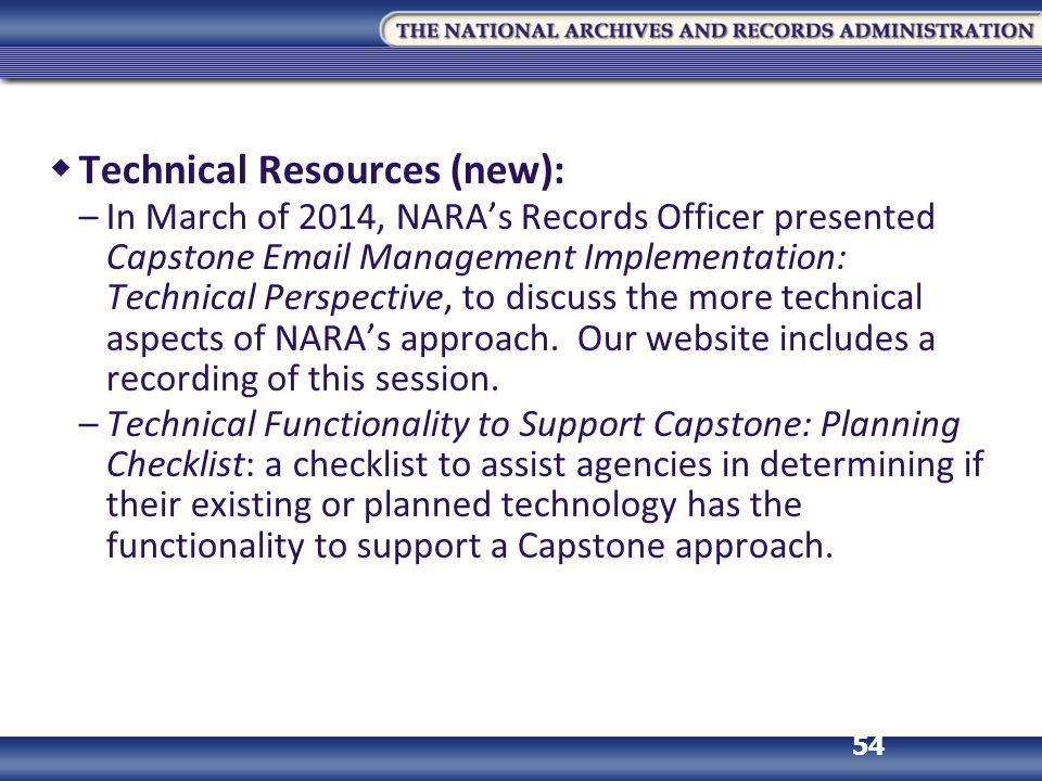 Technical Resources (new):