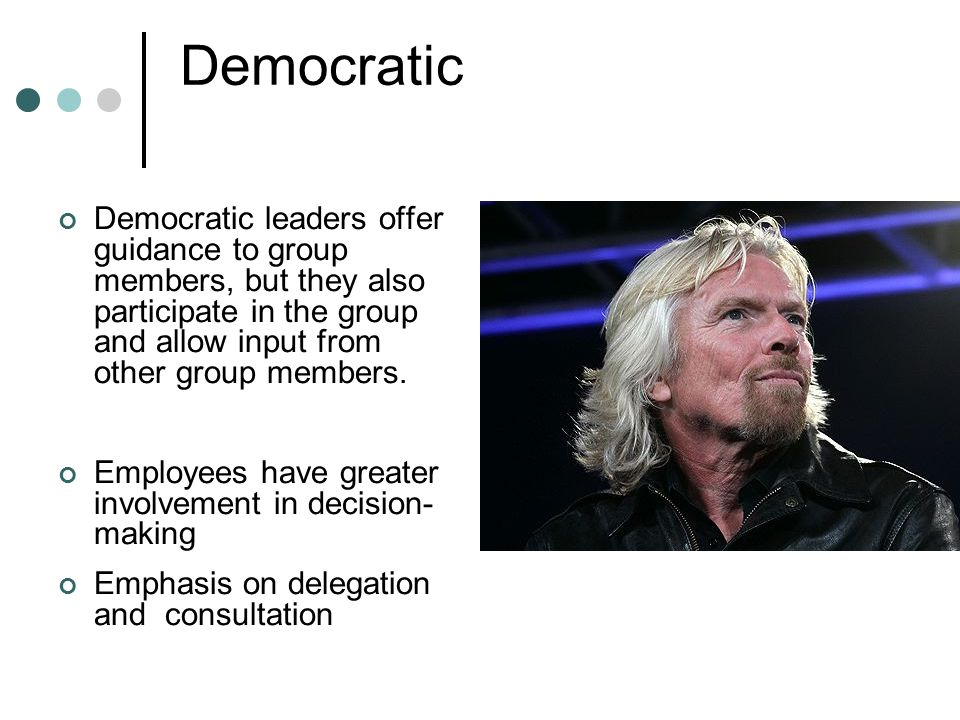 Leadership theory Democratic.