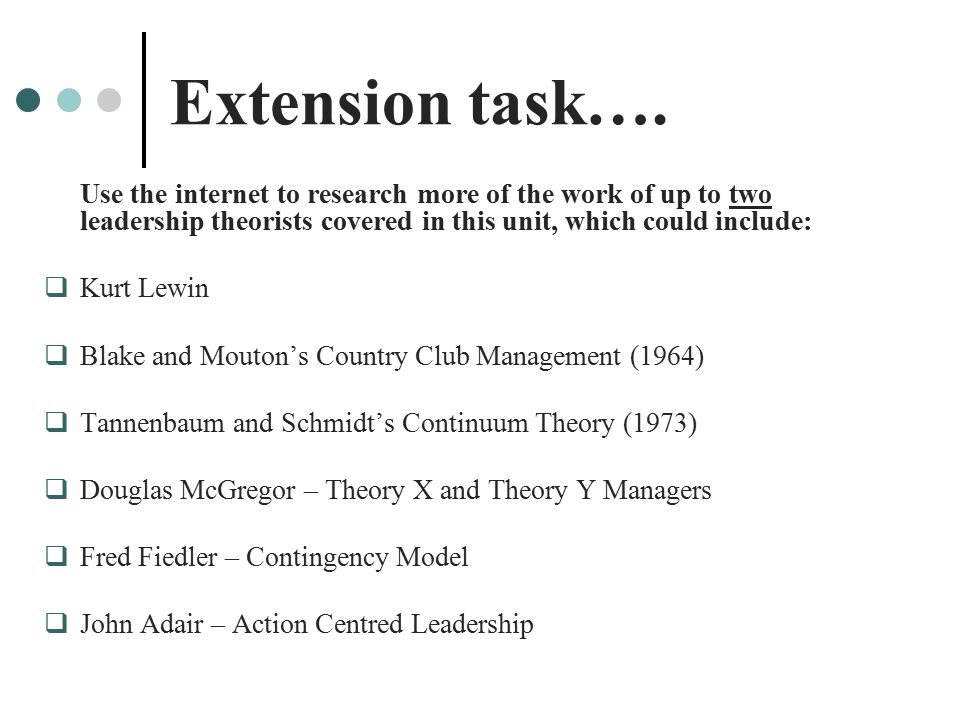 Extension task…. Use the internet to research more of the work of up to two leadership theorists covered in this unit, which could include: