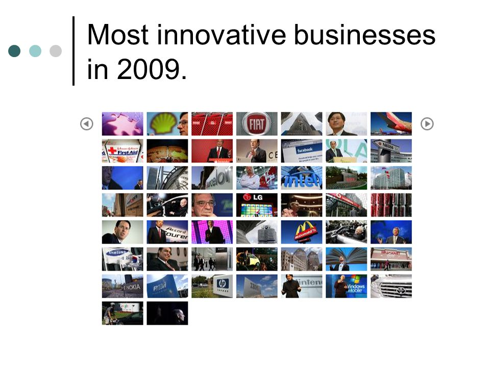 Most innovative businesses in 2009.