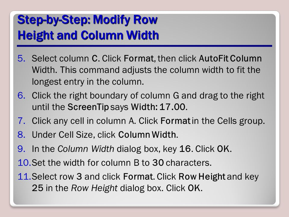 Step-by-Step: Modify Row Height and Column Width