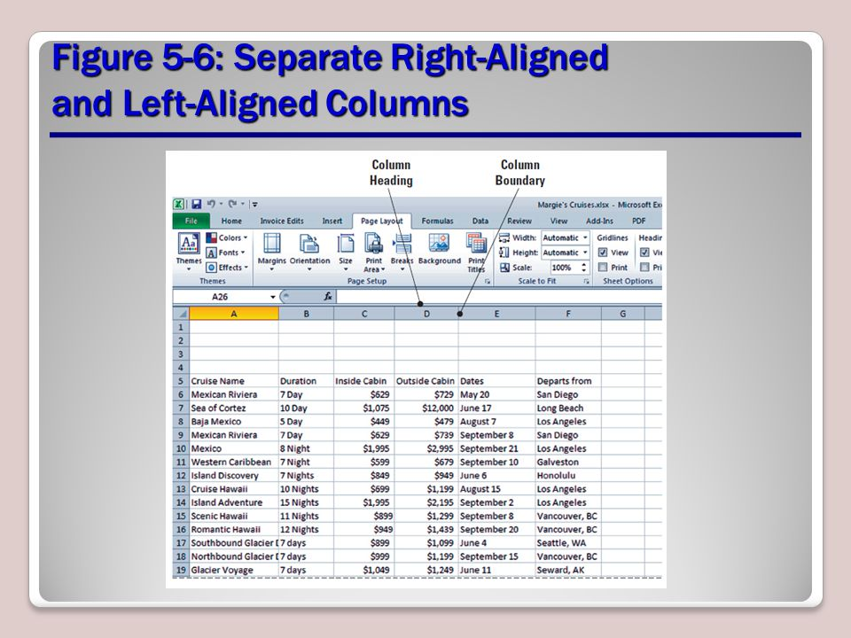 Figure 5-6: Separate Right-Aligned and Left-Aligned Columns