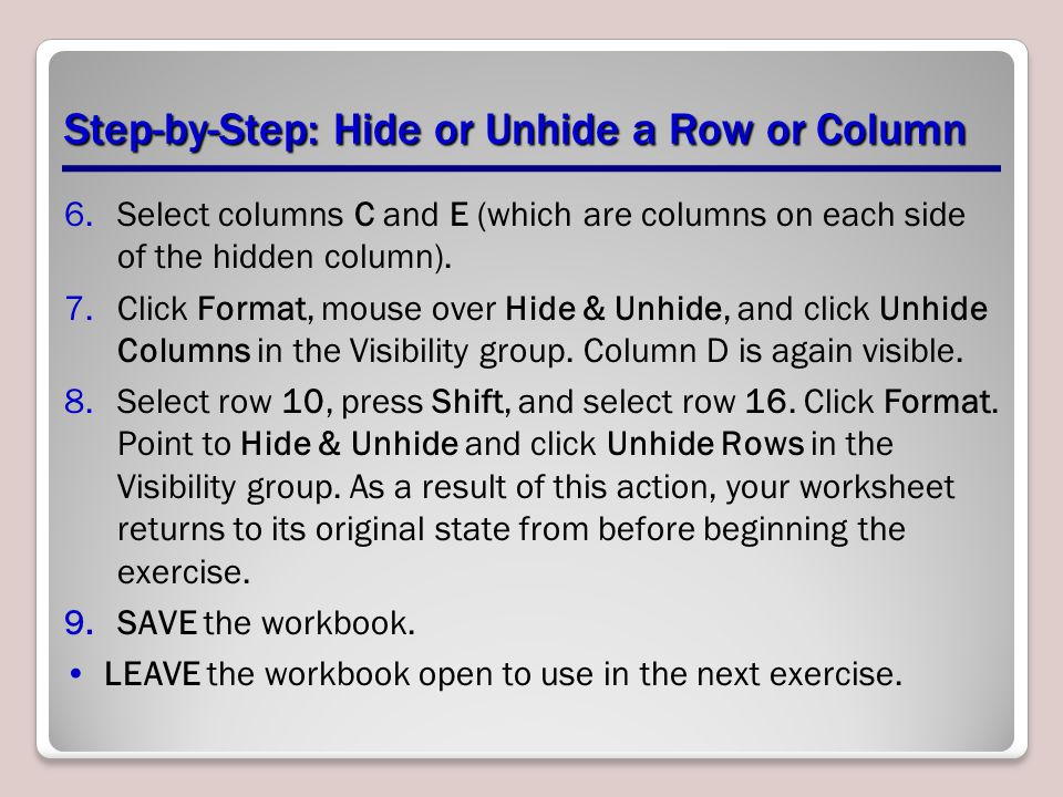 Step-by-Step: Hide or Unhide a Row or Column