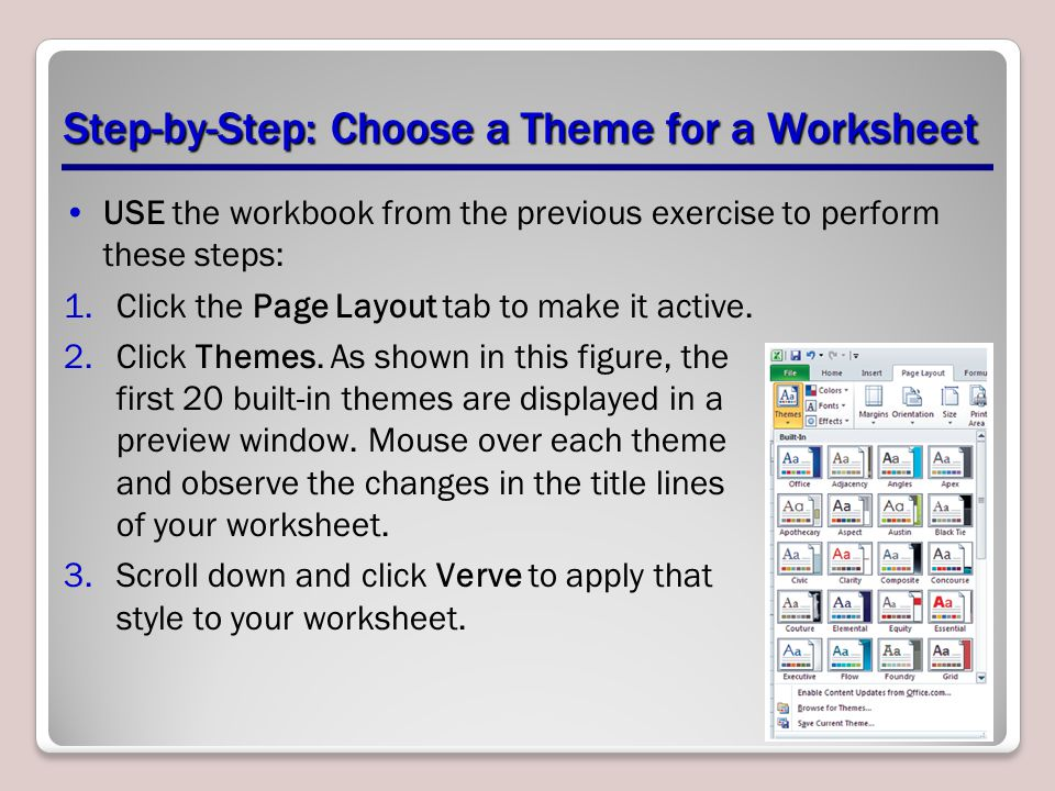Step-by-Step: Choose a Theme for a Worksheet