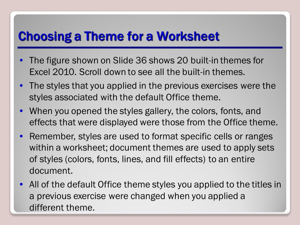 Choosing a Theme for a Worksheet