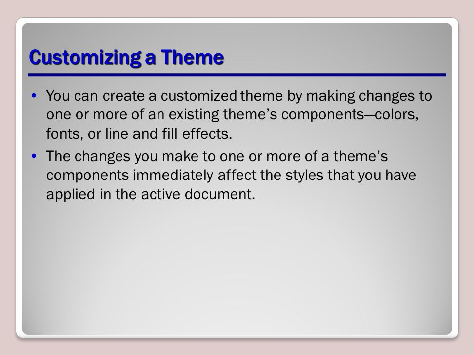 Customizing a Theme